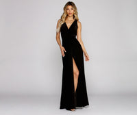 Sophisticated V-neck Knit Floor Length Plunging Neck Flowy Slit Stretchy V Back Dress