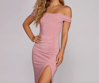 Floor Length Slit Ruched Knit Off the Shoulder Dress