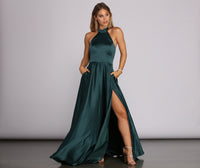 Sophisticated A-line Satin Full-Skirt Pocketed Back Zipper Slit Self Tie Collared Halter Princess Seams Waistline Dress