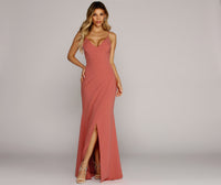 V-neck Crepe Spaghetti Strap Slit Wrap Banding Evening Dress