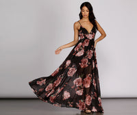 V-neck Self Tie Belted Semi Sheer Pleated V Back Back Zipper Chiffon Spaghetti Strap Floral Print Tie Waist Waistline Full-Skirt 2019 Dress