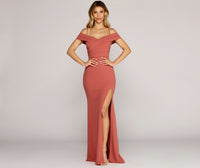 Pleated Slit Crepe Floor Length Mermaid Sweetheart Off the Shoulder Evening Dress