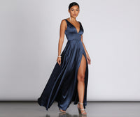 V-neck Satin Pocketed Banding Hidden Back Zipper Slit Fitted Tank Dress