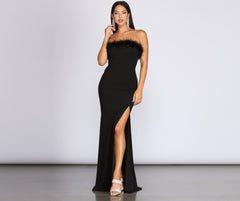 Oksana Marabou Trim Formal Crepe Dress