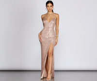 V-neck Plunging Neck Floor Length Sleeveless Spaghetti Strap Sequined Mesh Slit Dress With Pearls