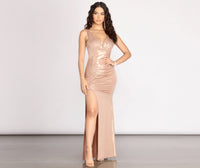 Tall V-neck Mermaid Floor Length Short Ruched Back Zipper Slit Tank Dress