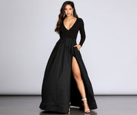 V-neck Banding Fitted Button Closure Slit Pleated Long Sleeves Plunging Neck Princess Seams Waistline Floor Length Bodysuit
