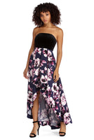 Strapless Velvet Princess Seams Waistline Square Neck Pocketed Back Zipper Floral Print High-Low-Hem Dress