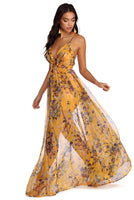 A-line Floral Print Plunging Neck Back Zipper Flowy Semi Sheer Pleated Short Dress