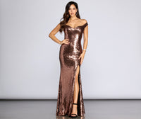 Mesh Sequined Back Zipper Slit Sweetheart Off the Shoulder Floor Length Dress