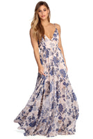 V-neck Belted Sheer Open-Back Wrap Plunging Neck Floral Print Floor Length Short Summer Tie Waist Waistline Dress