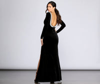 Open-Back Slit Fitted Velvet Round Neck Long Sleeves Floor Length Dress With Pearls