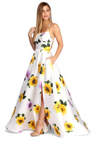 Scoop Neck Floor Length Sleeveless Floral Print Satin Wrap Slit Pocketed Dress