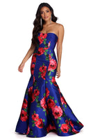 Strapless Illusion Floral Print Sweetheart Mermaid Dress