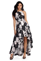 High-Low-Hem Floral Print Square Neck Princess Seams Waistline Pocketed Pleated Dress