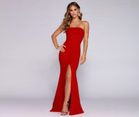 Crepe Slit Straight Neck Princess Seams Waistline Floor Length Mermaid Sleeveless Dress