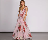 V-neck Spaghetti Strap Floral Print Floor Length Short Chiffon Semi Sheer Flowy 2019 Dress With Ruffles