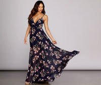 V-neck Chiffon Floor Length Short Flowy V Back Belted Semi Sheer Wrap Hidden Back Zipper Plunging Neck 2019 Floral Print Dress