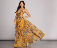 A-line Flowy Back Zipper Pleated Semi Sheer Short Plunging Neck Floral Print Dress