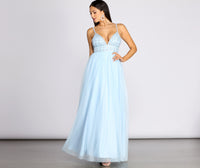 V-neck Tulle Plunging Neck Beaded Glittering Pleated Spaghetti Strap Ball Gown Dress With Rhinestones and Pearls