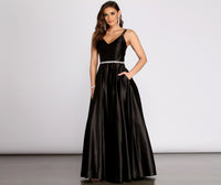V-neck Mesh Trim Satin Plunging Neck Ball Gown Dress With Rhinestones