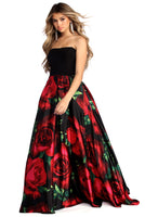 Strapless Floral Print Sweetheart Satin Pocketed Mesh Back Zipper Pleated Ball Gown Dress
