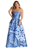 Strapless Satin Back Zipper Pocketed Floral Paisley Print Ball Gown Dress
