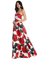 Strapless Tiered Pleated Back Zipper Pocketed Sweetheart Floral Print Ball Gown Dress