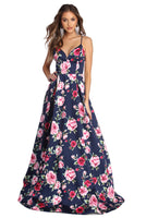 V-neck Plunging Neck Sleeveless Floral Print Princess Seams Waistline Satin Pleated Pocketed Ball Gown Dress
