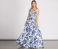 Floral Print Satin Back Zipper Pocketed V Back Spaghetti Strap Tank Plunging Neck Floor Length Ball Gown Dress