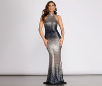 Mermaid Round Neck Mesh Jeweled Sequined Hidden Back Zipper Dress