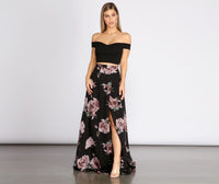 Lace-Up Wrap Off the Shoulder Floral Print Dress