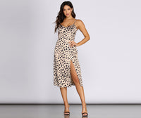 Satin Animal Leopard Print Spaghetti Strap Back Zipper Slit Midi Dress