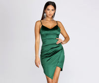 V-neck Short Plunging Neck Satin Sleeveless Spaghetti Strap Princess Seams Waistline Stretchy Asymmetric Ruched Dress