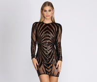 Crew Neck Short Long Sleeves Sequined Ribbed Mesh Dress With a Sash