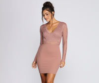 V-neck Long Sleeves Short Sheer Banding Dress