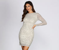 Crew Neck Knit Long Sleeves Short Mesh Sequined Bridesmaid Dress/Wedding Dress