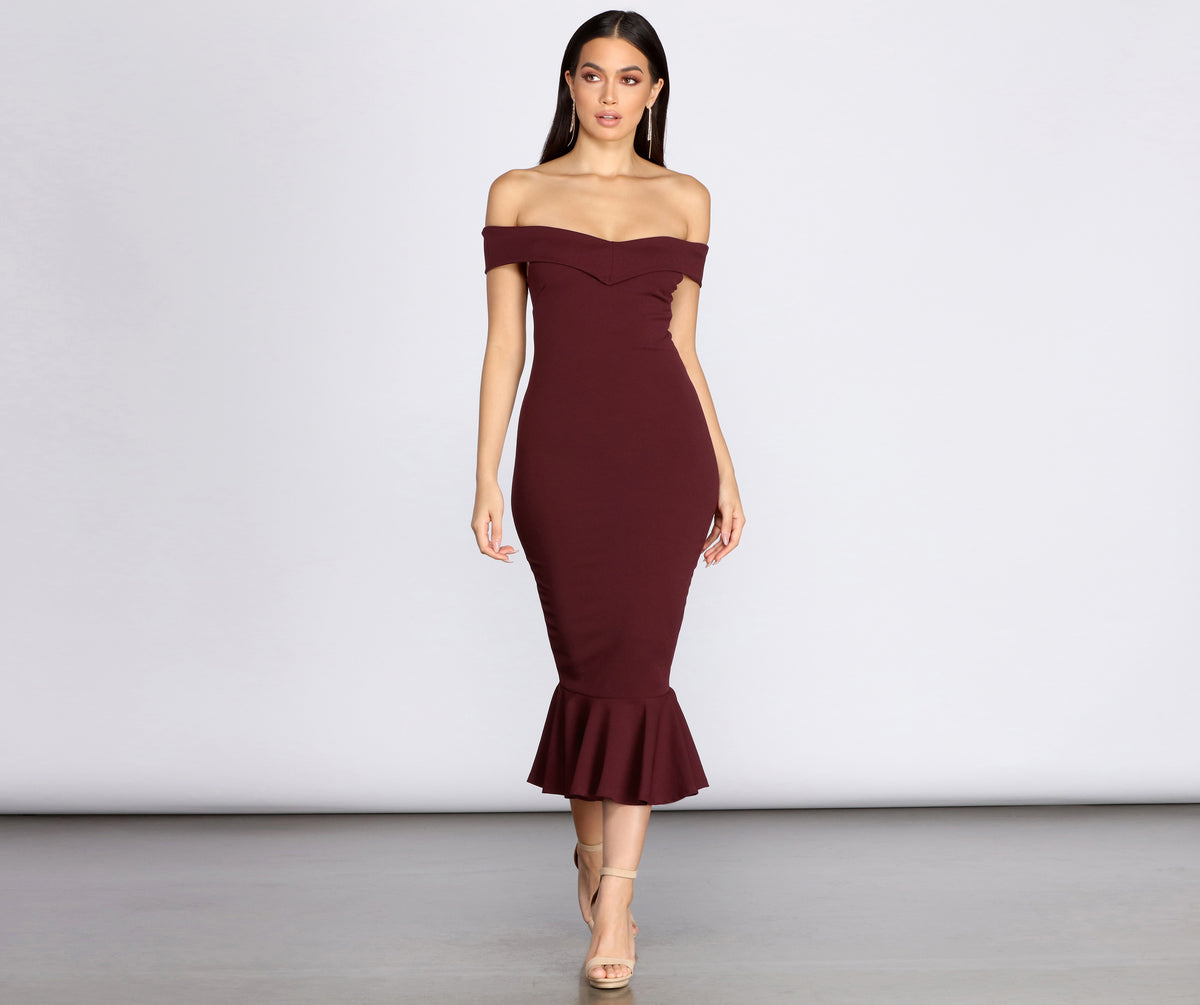 Will You Be My Sweetheart Midi Trumpet Dress by Windsor