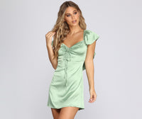 Above the Knee Ruched Flowy Satin Sweetheart Bridesmaid Dress/Wedding Dress With Ruffles