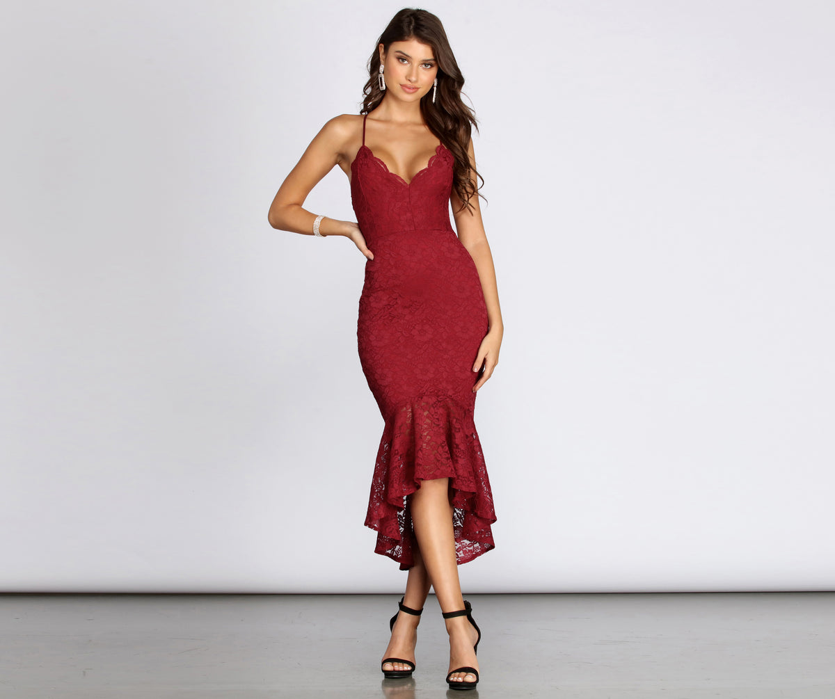 Scalloped Lace Trumpet Midi Dress by Windsor