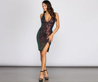 V-neck Plunging Neck Sequined Mesh Keyhole Slit Midi Dress