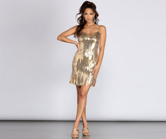 Sequin Stunner Fringe Mini Dress