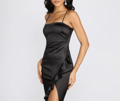 High Low Ruffle Hem Satin Dress