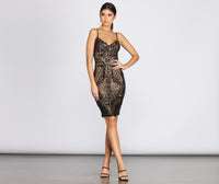 Spaghetti Strap General Print Sweetheart Sequined Sheer Mesh Midi Dress