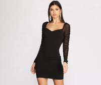 Short Crepe Puff Sleeves Sleeves Darts Sheer Fitted Ruched Sweetheart Little Black Dress
