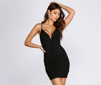 V-neck Glittering Cutout Knit Short Little Black Dress