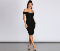 Ponte Off the Shoulder Back Zipper Sweetheart Princess Seams Waistline Midi Dress