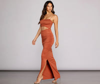 Cutout Stretchy Slit Ruched Square Neck Summer Knit Short Sleeveless Spaghetti Strap Maxi Dress
