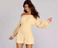 Above the Knee Long Sleeves Off the Shoulder Linen Ruffle Trim Elasticized Waistline Shirred Stretchy Fitted Dress