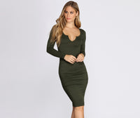 V-neck Ruched Stretchy Fitted Knit Midi Dress